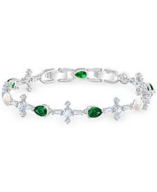 Silver-Tone Crystal, Stone & Imitation Pearl Flex Bracelet