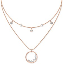 "Rose Gold-Tone Crystal Circle Layered Pendant Necklace, 13"" + 2"" extender"