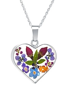 """Heart Shape Dried Flower Pendant with 18"""" Chain in Sterling Silver"""