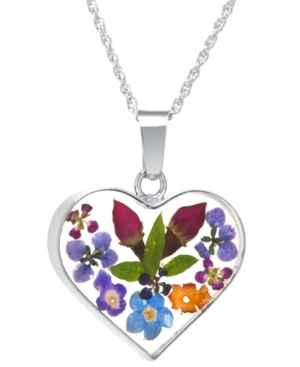 Heart Shape Dried Flower Pendant with 18