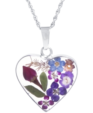 Medium Heart Dried Flower Pendant with 18