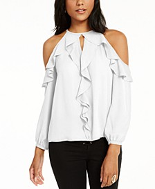 Ruffle-Trim Cold-Shoulder Top, Created for Macy's