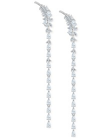 Silver-Tone Crystal Feather Chandelier Earrings