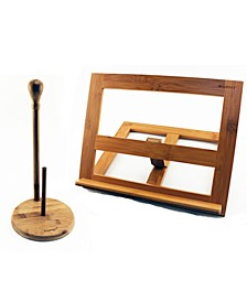 Bamboo 2-Pc. Cookbook & Paper Towel Holder Set