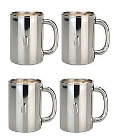 Straight Stainless Steel 4-Pc. Coffee Mug Set