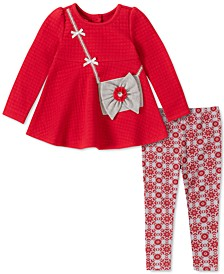 Baby Girls 2-Pc. Quilted Purse Tunic & Printed Leggings Set