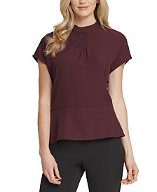 DKNY Pleated-Neck Peplum Top