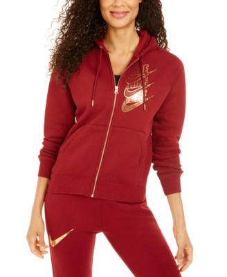 Women's Sportswear Shine Metallic Logo Zip Hoodie