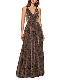 Metallic Python-Print Ball Gown