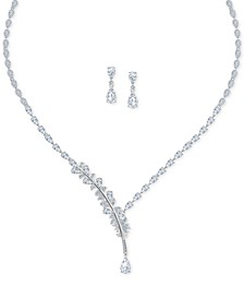 "Silver-Tone Crystal Feather Pendant Necklace & Drop Earrings Set, 14"" + 2"" extender"