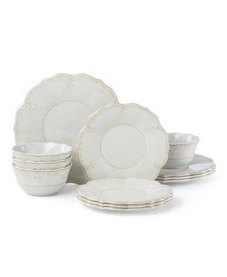 French Perle Melamine Grey 12 Piece Dinnerware Set, Service for 4