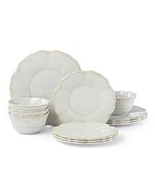 French Perle Melamine Grey 12 Piece Dinnerware Set, Service for 4