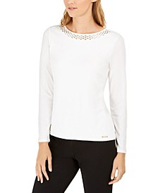 Petite Embellished-Neck Top