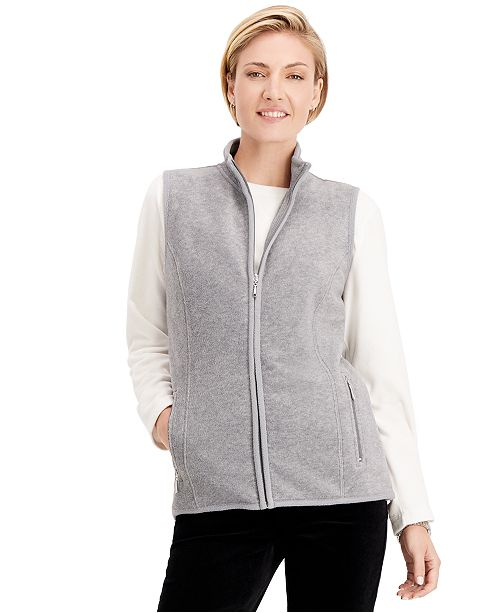 Karen Scott Zip-Up Zeroproof Fleece Vest, Created for Macy's