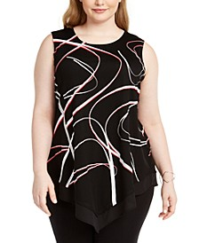 Plus Size Sleeveless Printed Asymmetric Top, Created For Macy's