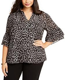 Plus Size Leopard Print Blouse