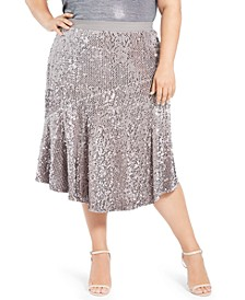 Plus Size Asymmetric Sequin Skirt
