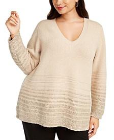 Plus Size Metallic-Striped V-Neck Sweater