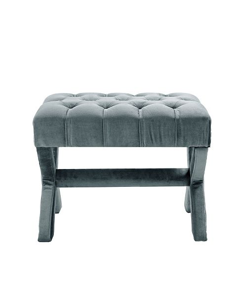 INSPIRED HOME Louis Tufted Nailhead Ottoman with X-Legs