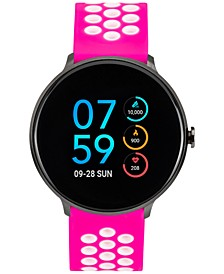 Women's Fuchsia & White Silicone Strap Touchscreen Sport Smart Watch 43.2mm