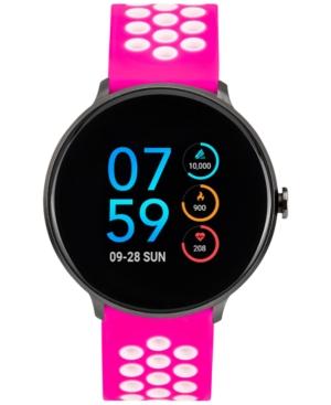 Women's Fuchsia & White Silicone Strap Touchscreen Sport Smart Watch 43.2mm