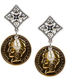 Two-Tone Imitation Pearl World Coin Drop Earrings