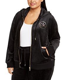 Plus Size Velour Logo Zip Hoodie