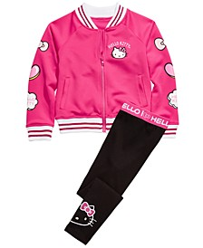 Little Girls Patch Bomber Jacket & Script Leggings