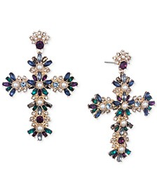 Gold-Tone Crystal, Stone & Imitation Pearl Cross Drop Earrings