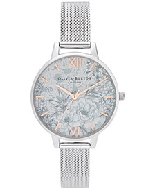 Women's Terrazzo Floral Stainless Steel Mesh Bracelet Watch 34mm
