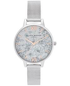 Women's Terrazzo Floral Stainless Steel Mesh Bracelet Watch 34mm