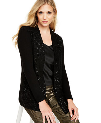 Cashmere Sequin Trim Completer Sweater, Regular & Petite, Created For Macy's by General