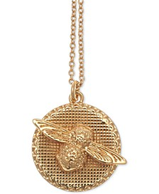 "Bee Disc 17-3/4"" Pendant Necklace in 18k Gold-Plate"