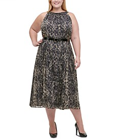 Plus Size Printed Belted Midi Dress