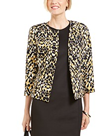 Petite Open-Front Animal-Print Jacket