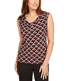 Printed Cowl-Neck Top