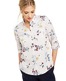 Floral-Print Button-Down Linen Shirt, Created for Macy's
