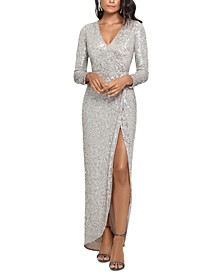 Sequined Surplice Slit Gown