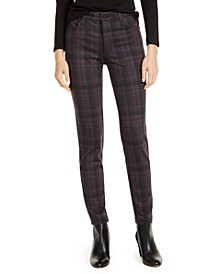 Mia High-Rise Skinny Plaid Ponte Pants