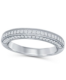 Diamond (1/3 ct. t.w.) Three Row Pave Band in 14K White Gold