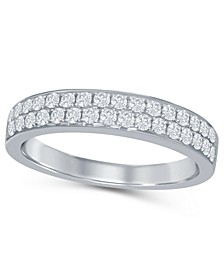 Diamond (3/8 ct. t.w.) Pave Two Row Band in 14K White Gold