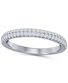 Diamond (1/3 ct. t.w.) French Pave Two Row Band in 14K White Gold