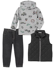 Toddler Boys 3-Pc. Quilted Full-Zip Vest, Racing-Print Hooded T-Shirt & Denim Jogger Pants Set