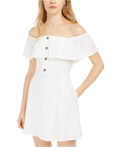 Speechless Juniors' Off-The-Shoulder Eyelet Dress
