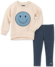 Little Girls Smiley Face Tunic & Leggings Set