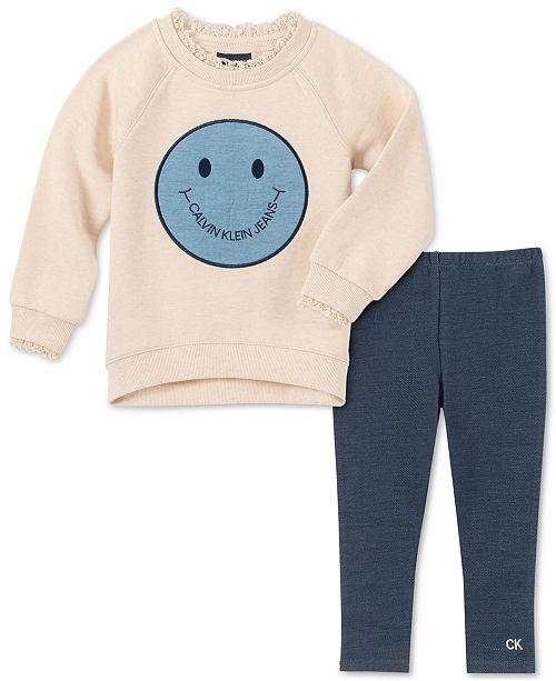 Calvin Klein Little Girls Smiley Face Tunic & Leggings Set