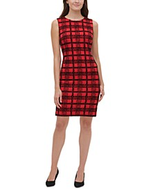Petite Flocked Velvet Plaid Sheath Dress