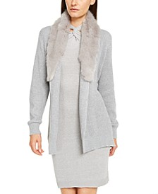 Faux-Fur-Trim Cardigan, Regular & Petite