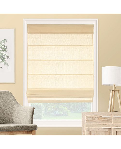 "Chicology Cordless Roman Shades, Rustic Cotton Cascade Window Blind, 35"" W x 64"" H"