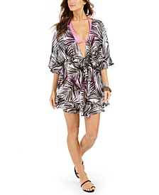 Paradise Palms Flutter-Sleeve Kimono Cover-Up